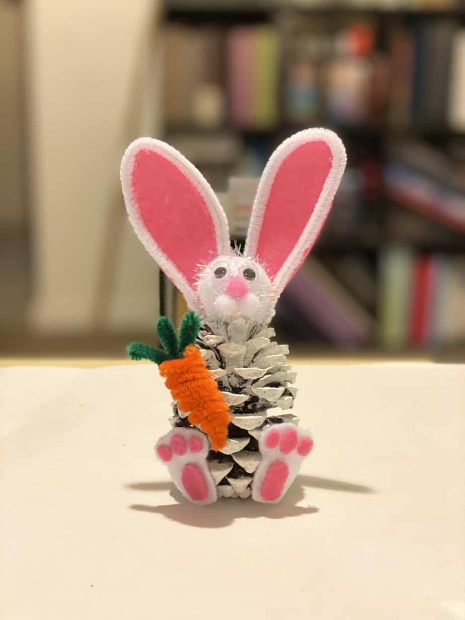 Pine cone bunny kids easter craft