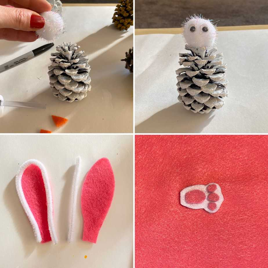 Easter bunny painted pine cone Peeps. Nature Easter craft for kids