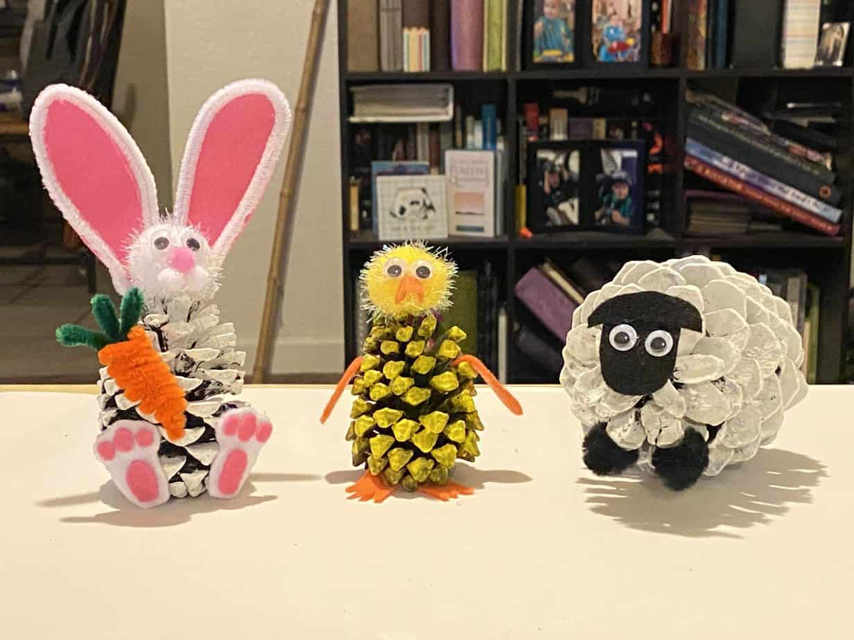 Pine Cone Easter Craft Pine Cone PEEPS Bunny Chick and Lamb