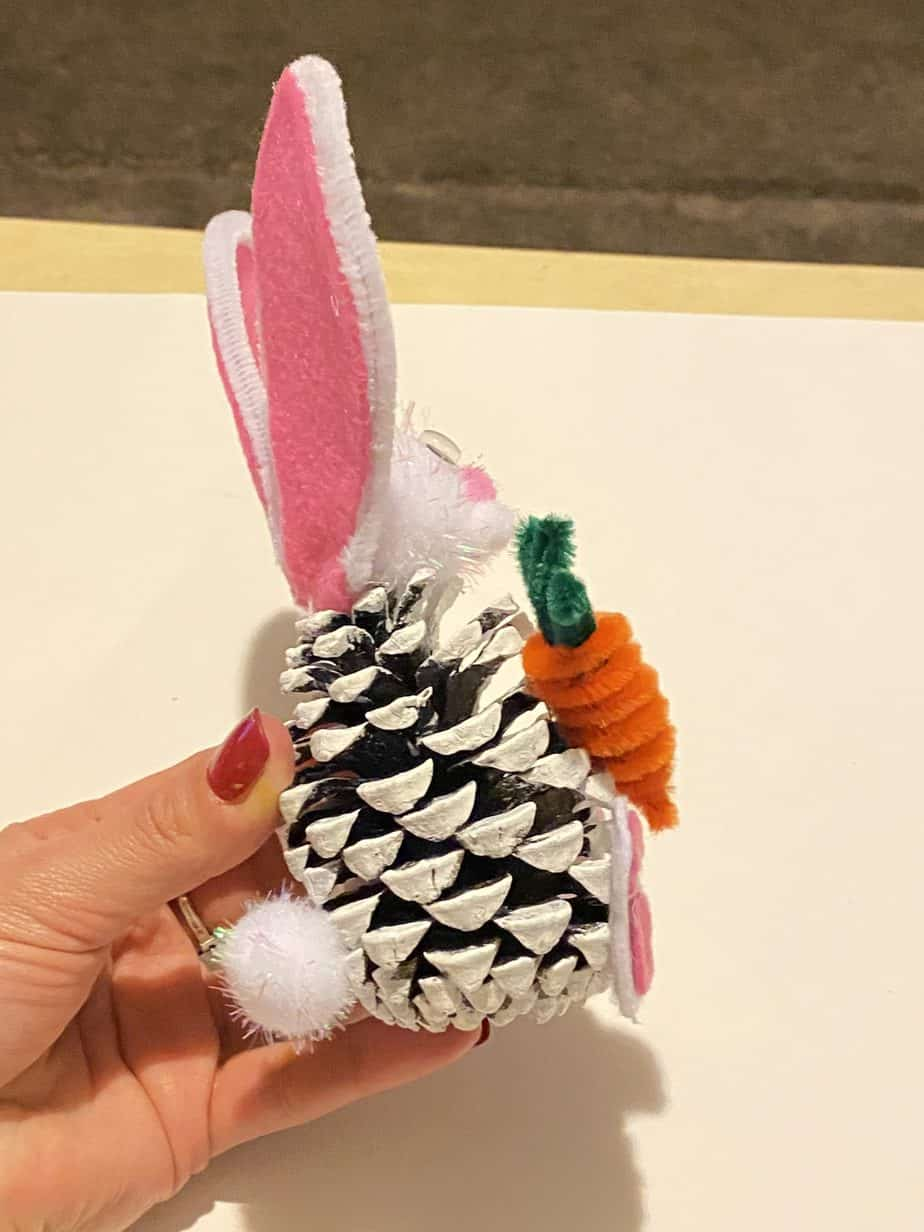 Painted white pine cone easter bunny