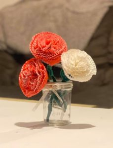 Mothers Day Handmade gift flowers. Cupcake Liner Carnations.