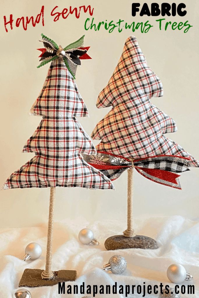 Easy Hand Sewn Fabric Christmas Trees With Twine Trunk