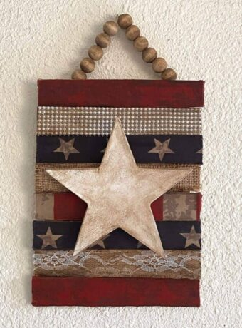 Antiqued and rustic Patriotic star with stars and stripes, burlap, lace, and pearl and a wood bead hanger for Memorial day or July 4th DIY Decor.